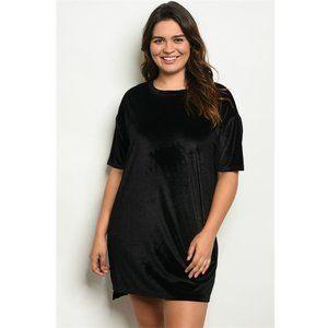 """""""Licorice"""" Black Velour T Shirt Tunic Mini Dress"""